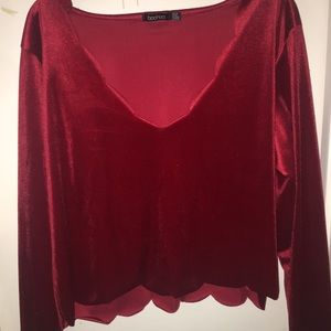 Red Scalloped crop top